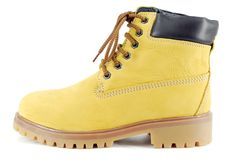 Yellow hiking boot Royalty Free Stock Photo