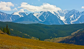Yellow hill and rock Altai mountain in ice Stock Photography