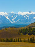 Yellow hill and rock Altai mountain in ice Royalty Free Stock Image