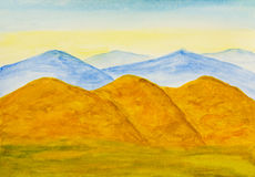 Yellow hills in autumn, watercolor Royalty Free Stock Images
