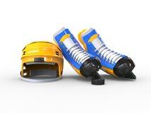 Yellow hockey equipment Royalty Free Stock Photos