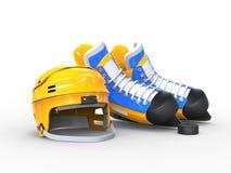 Yellow hockey helmet, blue and yellow blue hockey skates Stock Photography