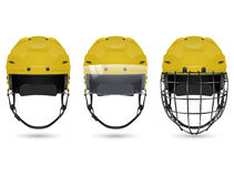 Yellow hockey helmet in three varieties Stock Images