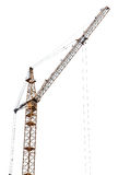 Yellow tower crane isolated on white Stock Images