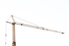 Yellow hoisting crane isolate on white background.  Royalty Free Stock Photo