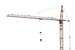 Yellow hoisting crane on white Stock Photos
