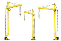 Yellow Hoisting Cranes Stock Images