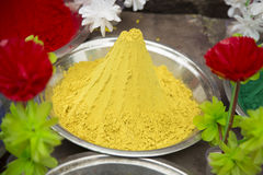 Yellow Holi Powder. At market stall, Orccha, India Royalty Free Stock Photography