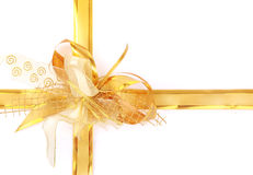 Yellow holiday bow. Big yellow holiday bow on white background royalty free stock image