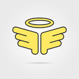 Yellow holy wings with shadow Royalty Free Stock Photography