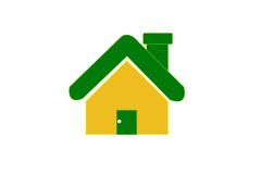 Yellow home icon on white background Stock Image