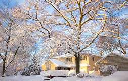 Yellow Home in Snow Royalty Free Stock Images