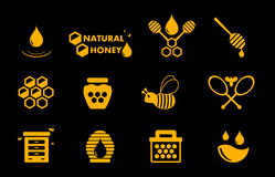 Yellow honey icons set Stock Photo