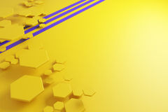 Yellow honeycomb pattern and purple lines Stock Image