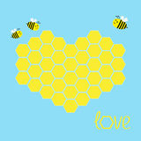 Yellow honeycomb set in shape of heart. Bee insect. Beehive element. Honey icon. Love greeting card. Isolated. Blue background.. Flat design. Vector Royalty Free Stock Photos
