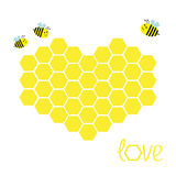 Yellow honeycomb set in shape of heart. Beehive element. Honey icon. Love greeting card. Isolated. White background. Flat design. Royalty Free Stock Images