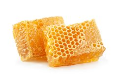 Yellow Honeycomb slice closeup Royalty Free Stock Photos