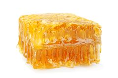 Yellow Honeycomb slice closeup Stock Photos