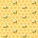 Yellow honeycombs and repeating bees. Seamless background pattern with yellow honeycombs and repeating bees. Vector illustration eps 10 royalty free illustration