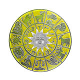 Yellow horoscope wheel Stock Images