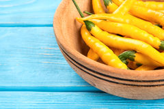 Yellow hot peppers in bowl Stock Photography