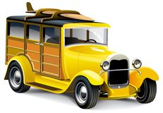 Yellow Hot Rod. Vectorial image of old-fashioned yellow hot rod with wooden carcass, isolated on white background. Contains gradients and blends Stock Photography