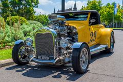 Yellow hot rod car Royalty Free Stock Image