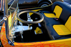 Yellow Hot Rod Interior Stock Photo