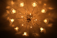 Yellow Hotel lights on the ceiling. With the annulus look Royalty Free Stock Photos