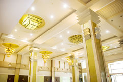 Yellow Hotel lights on the ceiling. With the annulus look Royalty Free Stock Images