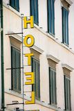 Yellow hotel sign Stock Photography
