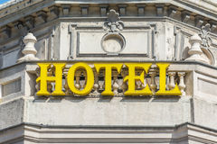 Yellow Hotel Sign Stock Photos