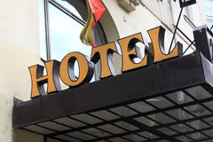 Yellow hotel sign Stock Image