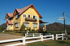 Yellow House. North of Thailand Stock Photo