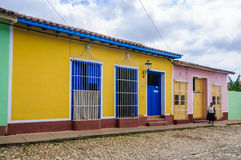 Yellow house with blue door and windows in Trinidad, Cuba Royalty Free Stock Photos