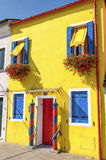 A yellow house in Burano Stock Photo