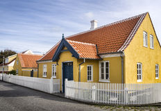 Yellow house in the center of Skagen in jutland Royalty Free Stock Photo