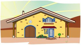 Yellow house in the countryside. Vector illustration of a house in the countryside, file EPS 8 Stock Illustration