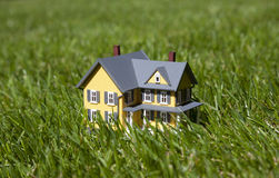 Yellow house on green grass Stock Image