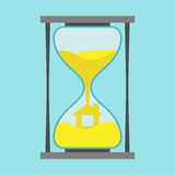 Yellow house inside hourglass. On blue background. Building, investment and crisis concept. Flat design. Vector illustration. EPS 8, no transparency Royalty Free Stock Image