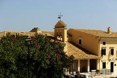 Yellow house in Kerkyra. Corfu. Greece Royalty Free Stock Photo