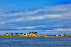 Yellow house in magdalen island Stock Photos