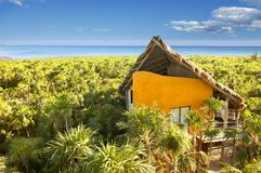 Yellow house in Mexico tropical caribbean jungle Royalty Free Stock Photos