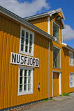 Yellow house in Nusfjord. Picturesque houses in the fishing village Nusfjord (Unesco World Heritage Royalty Free Stock Photography