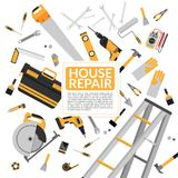 Yellow house repair tools and construction working equipment Royalty Free Stock Photography