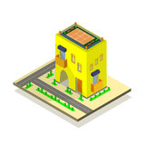 Yellow house, road and green trees Stock Image