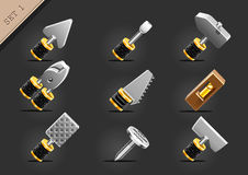 Yellow household tools. Set of nine yellow household tools Stock Photography