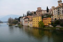 Yellow houses in Bassano del Grappa, Italy Stock Image
