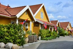 Yellow houses in Moss, Norway. flag royalty free stock photo