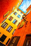 Yellow houses in old town of Stockholm Royalty Free Stock Image